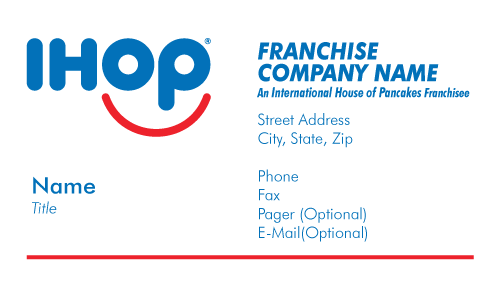 Ihop local store marketing business cards business cards are printed in full color on front the backs are optional pictured below and printed in one color reheart Gallery
